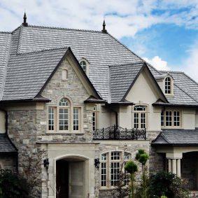 white stone house